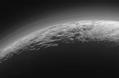 15 minutes after its closest approach to Pluto on July 14, 2015, NASA's New Horizons spacecraft looked back toward the sun and captured this near-sunset view of the rugged, icy mountains and flat ice plains extending to Pluto's horizon.