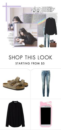 """""""- studying and language classes"""" by kwon-suyeon ❤ liked on Polyvore featuring GET LOST, Reverie, Birkenstock, Yves Saint Laurent, Uniqlo, Samsung and Zatchels"""