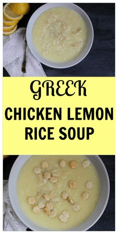 Chicken Lemon Rice Soup - Mom to Mom Nutrition Chicken Lemon Rice Soup is a classic Greek, lemony soup made with fresh ingredients and simple foods like chicken, lemon, rice, and eggs. Greek Recipes, Rice Recipes, Soup Recipes, Cooking Recipes, Recipies, Fruit Recipes, Casserole Recipes, Paleo Recipes, Chicken Recipes