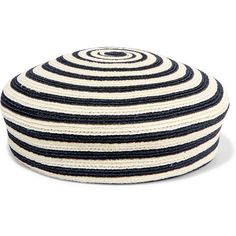 Gucci Striped woven hemp and cotton-blend beret (975 RON) ❤ liked on Polyvore featuring accessories, hats, blue, blue beret, blue hat, beret hat, gucci hat and hemp hat