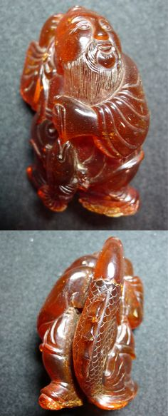 Amber carving of a fisherman. Qing dynasty. Private collection