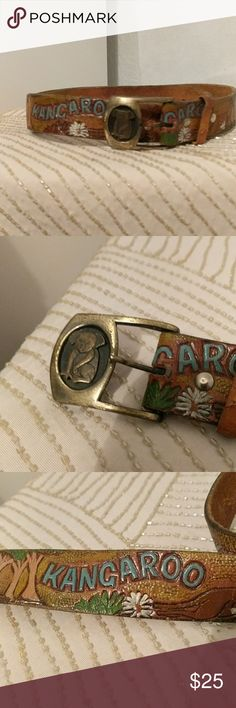 "Quirky Vintage Leather Kangaroo Belt Unique hand painted leather belt featuring kangaroos and a metal koala buckle. Shows signs if typical vintage leather wear and has some worn off paint, but no major flaws--it's like a long time favorite you've worn for years.  Measures 31"" from tongue to loosest belt loop. Fabulous and sure to stand out, this belt can be worn by men and women. Vintage Accessories Belts"