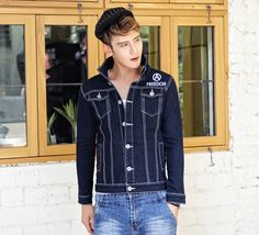 $60.35 -- Mens Denim Jacket 2014 New Arrival Style Men Jackets Cartoon Long Sleeve Fitted Pockets Denim Top Lapel Short M-XXL Jackets  Discount Online Shopping