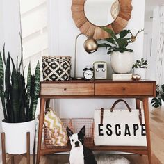 Super cute space by @sunwoven and that little doggie is the perfect addition!
