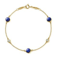Tiffany & Co.Elsa Peretti Color by the Yard bracelet in 18k gold with diamonds and lapis lazuli.