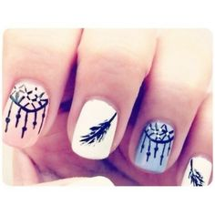 Dream catcher mani  @Sueann Harnden you should do this!!! for my next appointment whenever that may be.