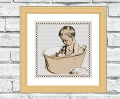"""This cute counted cross stitch pattern is featuring a vintage illustration """"Boy in Bathtub"""". Vintage looking yet very modern and elegant, perfect for bathrooms and kids rooms. This pattern is not difficult to stitch as it has only 13 colors in it! One of my personal favorite! 6,99$"""