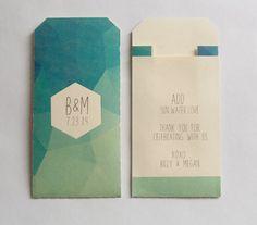 150 - Custom Printed Geometric Faceted Wedding Favor Envelopes - Many Colors Available Wedding Favor Bags, Wedding Invitations, Budget Friendly Wedding Favours, Invitation Design, Invitation Ideas, Wedding Thanks, Pantone, Geometric Wedding, Cards