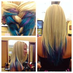 Blonde with Elumen color teal blue and purple on Long layered hair