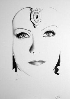 Greta Garbo Portrait Bleistift Zeichnung Fine Art Print handsigniert von Künstler