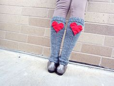 Leg Warmers Knit Gray Red Heart Valentines Day Teen Leggings Womens Ladies Adult Crochet