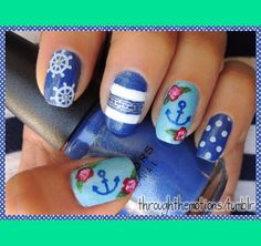 Neptune (Ring / Thumb) Base: Wet n Wild . Blue Wants To Be A Millionaire topped over Avon . Vintage Blue Other: Avon . Navy Nail Art, Navy Nails, Polka Dot Nails, Nail Designs Spring, Cute Nail Designs, Cute Nails, Pretty Nails, Sailor Nails, Olive Nails