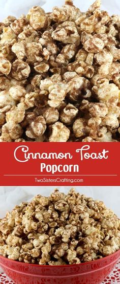 Cinnamon Toast Popcorn - a twist on a classic breakfast treat. Crunchy popcorn, yummy melted butter and delicious cinnamon sugar combine into a new classic popcorn snack. This is a family movie night dessert that your family will beg you to make again an Popcorn Snacks, Flavored Popcorn, Gourmet Popcorn, Popcorn Balls, Oreo Popcorn, Vegan Popcorn, Popcorn Toppings, Movie Popcorn, Popcorn Seasoning