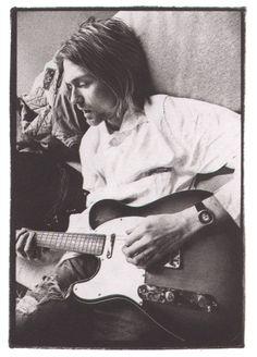 playing a telecaster | Kurt Cobain playing a Telecaster