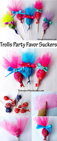Trolls Party Favor Suckers: fun idea for kids party 6th Birthday Parties, Birthday Bash, Birthday Ideas, Rainbow Birthday, Party Favors For Kids Birthday, Princess Poppy Birthday Party, Trolls Birthday Party Ideas Cake, 3rd Birthday Party For Girls, Fiesta Party Favors
