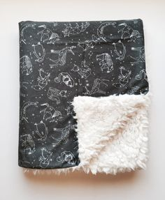Constellations faux fur baby blanket - star gazing night sky camping animals - charcoal grey black white nursery gender neutral shower gift