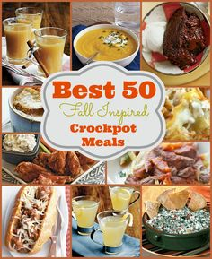 Great list of Fall inspired crock pot recipes! Great for freezer cooking!