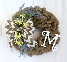 Spring Wreath, Front Door Wreath, Burlap Wreath, Easter Wreath, Summer Wreath, Floral Wreath, Chevron Wreath, Spring Decor, Farmhouse Wreath by JennysWreathBoutique on Etsy https://www.etsy.com/listing/266281533/spring-wreath-front-door-wreath-burlap