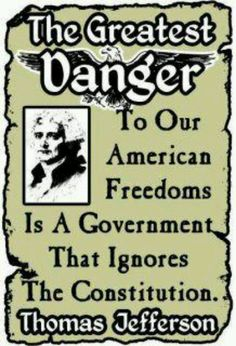 Thomas Jefferson-The Greatest Danger to American Freedoms Is A Government That Ignores The Constitution. We Are The World, In This World, Thomas Jefferson, Jefferson Quotes, American Freedom, American Pride, God Bless America, Founding Fathers, Way Of Life