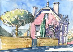 Quimperlé - Rue Pierre et Marie Curie - 09 02 2015 Marie Curie, Urban Sketching, Illustration Art, Sketches, Houses, Draw, Watercolor, Farms, Trees