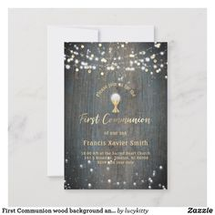 First Communion wood background and lights Announcement
