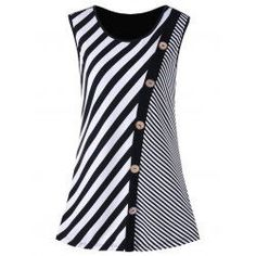 Buy wholesale plus size button embellished striped tank top 3xl black white for $10.92 from China plus size t-shirt wholesaler. Online christmas plus size sweater and plus size tank with best quality , cheap price and fast delivery on Rosewholesale.com.