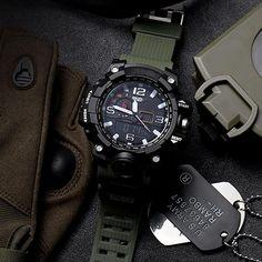 65e45b77baa Men s Fashionable Multi-Functional Student Electronic Watch Outdoor Sports  Dual-Display Waterproof Digital Watch Luminous Watch