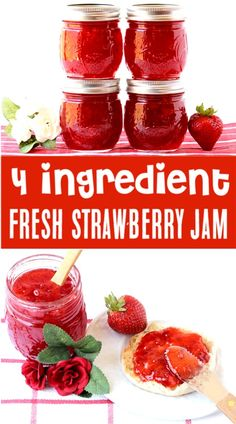 Strawberry Jam Recipe for Canning! Ingredients = BEST HOMEMADE JAM EVER!} Once you've tried it, you'll never go back to store bought again! Go grab the recipe and give it a try! Strawberry Jam With Pectin, Homemade Strawberry Jam, Strawberry Jam Recipe Without Pectin Low Sugar, Strawberry Jelly Recipe Canning, Easy Strawberry Preserves Recipe, Homemade Jam Recipes, Making Strawberry Jam, Recipes, Canning Recipes