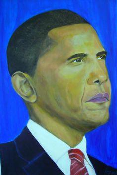 Mein Gemälde eines Hoffnungsträgers, den man versucht zu verhindern. Obama President USA. Acrylgemälde 70 x 90 cm