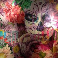 Floral skull collage art piece