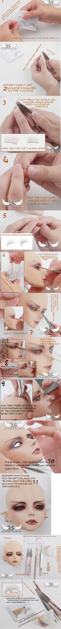 Eyelashes Attaching for dolls by Angell-studio.deviantart.com on @deviantART