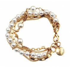 Bratara 5 siraguri placate cu aur si perle albe Scott