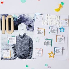 We are loving all the amazing inspiration our team has made using our March kit + add-ons, and our new Happy Birthday mini collection! @findingeverydayperfection used our new mini collection to capture these special notes about her son on this awesome layout! Click the link in our profile to check out all the new products, then click on BLOG to check out all the inspiration from our entire team!  #ellesstudio #scrapbook #scrapbooking #scrapbooklayout #papercraft #papercrafts #memorykeeping