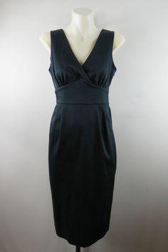Size 8 S Ladies Black Pencil Dress Cocktail Retro Vintage Inspired Business