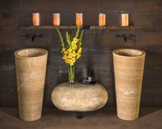Custom Honey Onyx Veneto Pedestal Sinks by Stone Forest