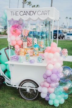 Balloon-adorned Candy Cart from a Boho Mermaid Party on Kara's Party Ideas | KarasPartyIdeas.com (17) 1st Birthday Girl Decorations, Mermaid Party Decorations, Girl Birthday, Birthday Parties, Girl Parties, Mermaid Birthday, Coachella Party Theme, Candy Cart, Party Entertainment