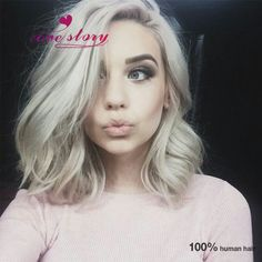 Platinum blonde white hair bob lob