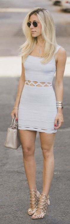 Glam For You Light Grey Body-con Bandage Cutout Little Dress