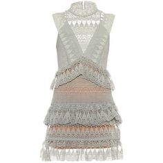 Self-portrait Teardrop guipure-lace mini dress (€460) ❤ liked on Polyvore featuring dresses, vestidos, light green, white dress, lace up front dress, short white dresses, geometric print dress and white embellished dress