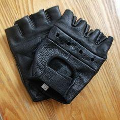 Black leather finger-less motorcycle gloves