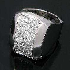 14K White Solid Gold Mens Diamond Ring 4.75 Ctw