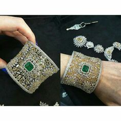 emerald and diamond cuff from @kamyenjewellery