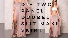 DIY Two Panel Double Slit Maxi Skirt   MIND SPACE   Maxi Skirt Winter, Diy Maxi Skirt, Maxi Skirt Tutorial, Maxi Skirt With Slit, Maxi Skirts, Diy Dress, Girl Skirts, Double Slit Dress, Robe Diy