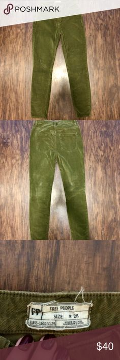 NEVER WORN / FREE PEOPLE CORDUROY PANTS - SIZE: 26 Free People Corduroy Skinny Jeans  Pre-owned (Never worn) Army Green 26 Comes from SMOKE FREE home Free People Pants Skinny