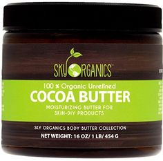 Unrefined Cocoa Butter oz) Pure Raw Cocoa Butter - Skin Nourishing, Moisturizing & Healing, for Dry Skin, Stretch Marks - For Skin Care, Hair Care & DIY Recipes Mango Butter For Hair, Body Butter, Organic Castor Oil, Organic Shampoo, Organic Oils, Pure Cocoa Butter, Hair Extension Care, Diy Hair Care, Skin Cream