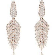 Sutra 18K Rose Gold & Diamond Feather Drop Earrings (8,815 CAD) ❤ liked on Polyvore featuring jewelry, earrings, post earrings, diamond post earrings, feather drop earrings, 18 karat gold earrings and diamond jewelry