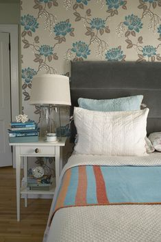 Sneak Peek: Katherine and Mac McMillian. From Design*Sponge. I love the blue here, especially in the wallpaper (and it ties in with the books!).