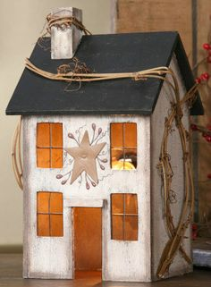 New Primitive Country Whitewash Saltbox House Lamp Light Windows Grapevine Berry Primitive Homes, Primitive Kunst, Primitive Bedroom, Primitive Crafts, Wood Crafts, Diy Crafts, Primitive Country, Primitive Kitchen, Primitive Decorations