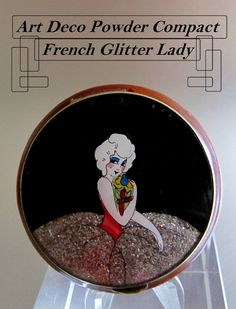 ‹(•¿•)› VINTAGE ANTIQUE ART DECO CELLULOID FRENCH GLITTER LADY POWDER COMPACT #Compacts