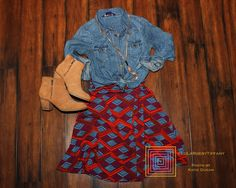 Pair your Azure skirt with a chambray top and some booties for a great fall look. Penny Smith, Skirt Fashion, Fashion Outfits, Patterned Pants, Azure Skirt, Chambray Top, Pink Leggings, Lula Roe Outfits, Passion For Fashion